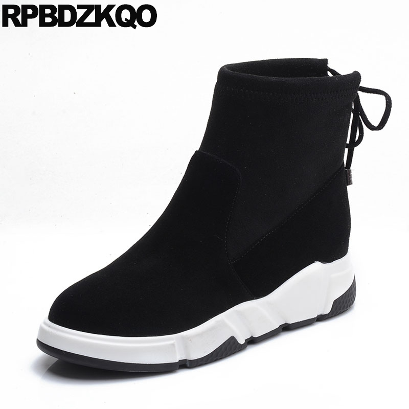 Platform Height Increasing Booties Autumn Lace Up Shoes Women Boots Winter 2017 Flat Suede Black Ankle Fall Casual Ladies Female flat booties elastic autumn shoes slip on ankle fall black women boots 2016 round toe suede chelsea platform ladies female short