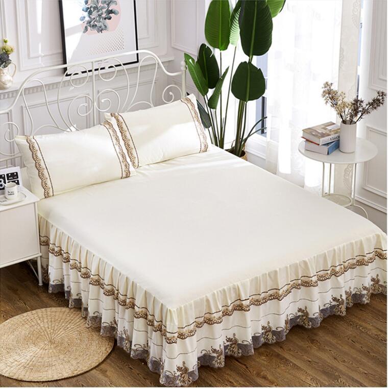 Romantique Corée Dentelle literie Lit Jupe 1/3 pcs 100% Coton Couverture De Lit Princesse Couvre-lit Lin Taie D'oreiller Décoratif À La Maison reine/Roi