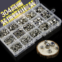 1box 304 Hex Nut Sets Household Nylon Lock Cover Decoration Flange Nuts 385 Pieces