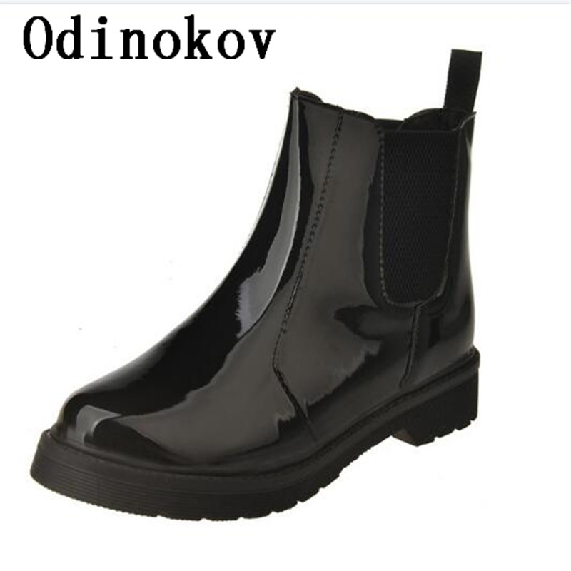 Odinokov Rain Boots 2017 Waterproof Fashion Jelly Women Ankle Rubber Boot Elastic Band Solid