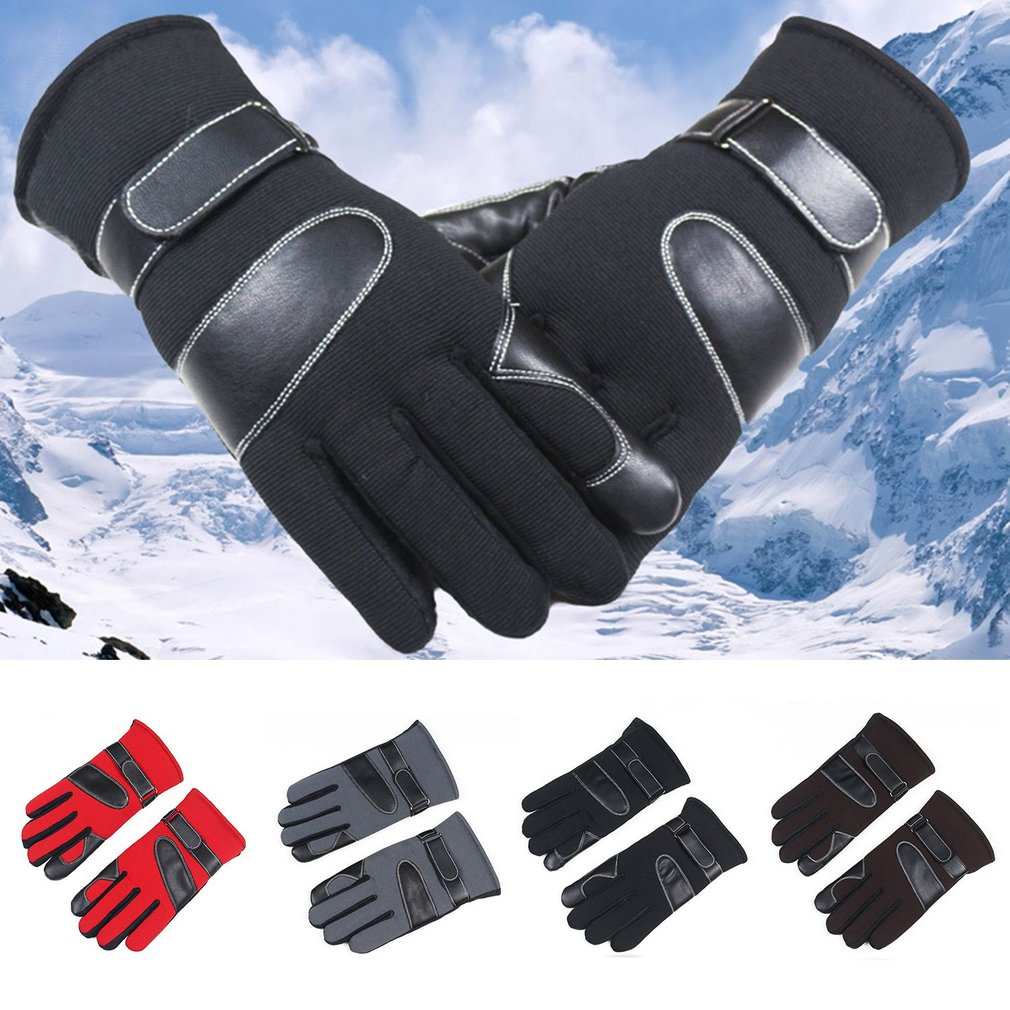 Ourdoor Men Winter Riding Gloves Thickened Skiing Gloves Breathable Plus Velvet Motorcycle Gloves With Screen Touch Function