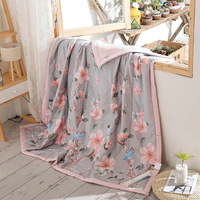Flowers Print Pink Quilting Summer Quilt Twin Queen Size Throws Blanket 100% Cotton Bedding Plaid Bedspread
