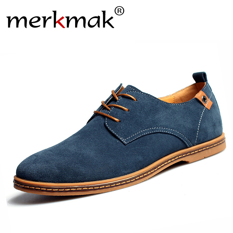 b5e19e2267a83 US $15.69 45% OFF|New 2018 Fashion Men Shoes Suede Leather Casual Flat  Shoes Lace up Men's Flats for Man Rubber Outsole Driving Shoes Footwear-in  ...