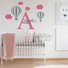 Air Balloons Name Wall Sticker Lovely Decal Children Room Girls Stickers Baby Nursery Cut Vinyl C94