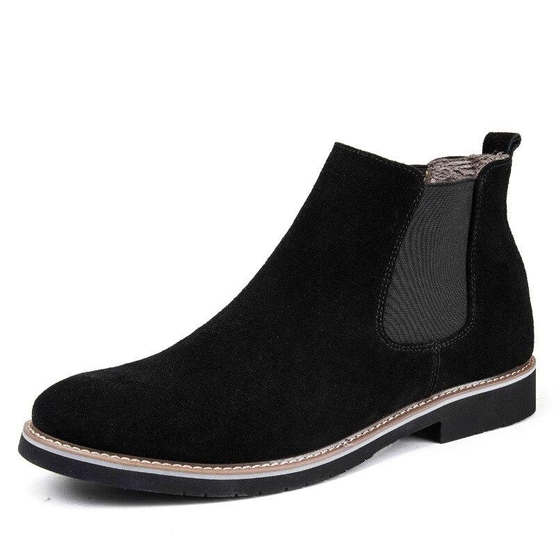 Genuine Leather Chelsea Boots Men New Fashion Shoes Men 2018 Autumn Winter All Black Short Top Boots Slip-on Casual Sneakers Men mulinsen new 2017 autumn winter men