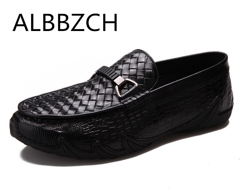 Fashion Loafers Weave Casual Shoes Men Genuine Leather Slip on Flat Shoes Mens Comfortable Work Shoes Size 38-44Fashion Loafers Weave Casual Shoes Men Genuine Leather Slip on Flat Shoes Mens Comfortable Work Shoes Size 38-44