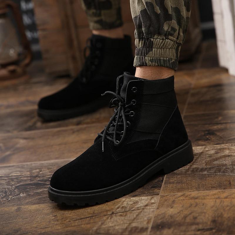Martin Solide Moto up attaché noir Croix Chaussures Toe Hommes Lace Cheville Chelsea Classiques Beige Mode Bottes Loisirs De Ronde 7WZHPq