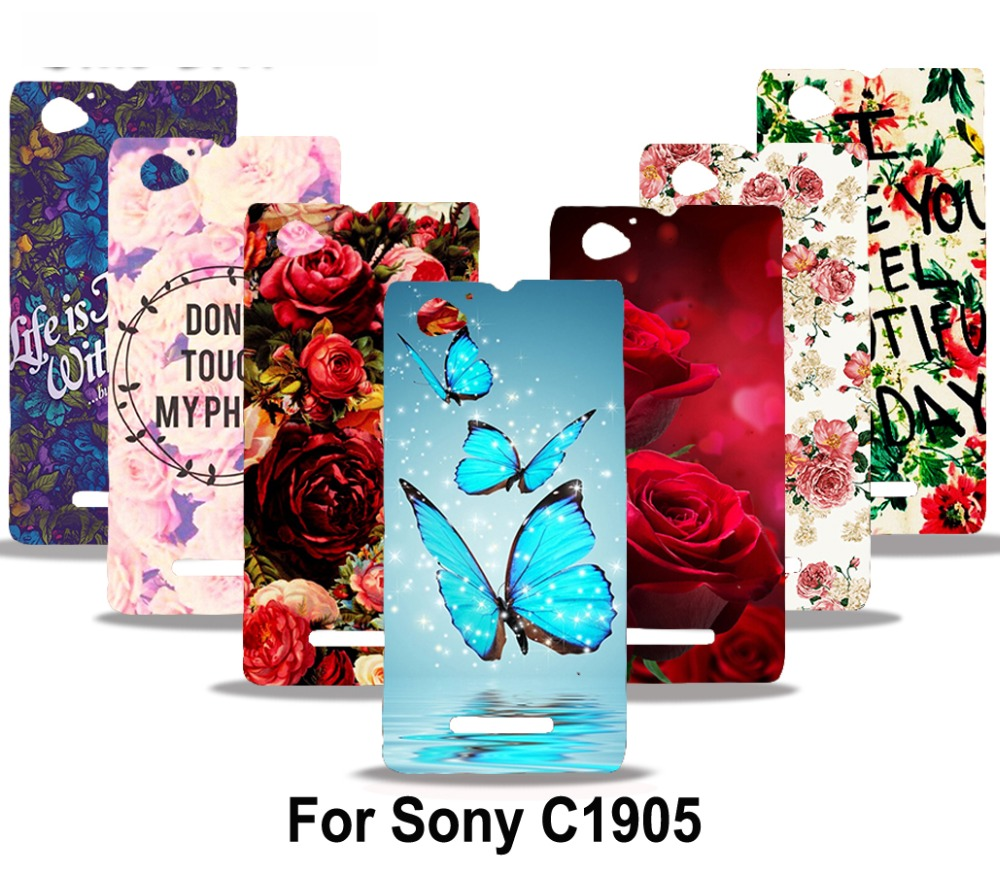 Colorful Rose Peony Flowers Background Butterfly PC Phone Case Cover For Sony Xperia M C1905 C1904 C2004 C2005 Phone Case Shell