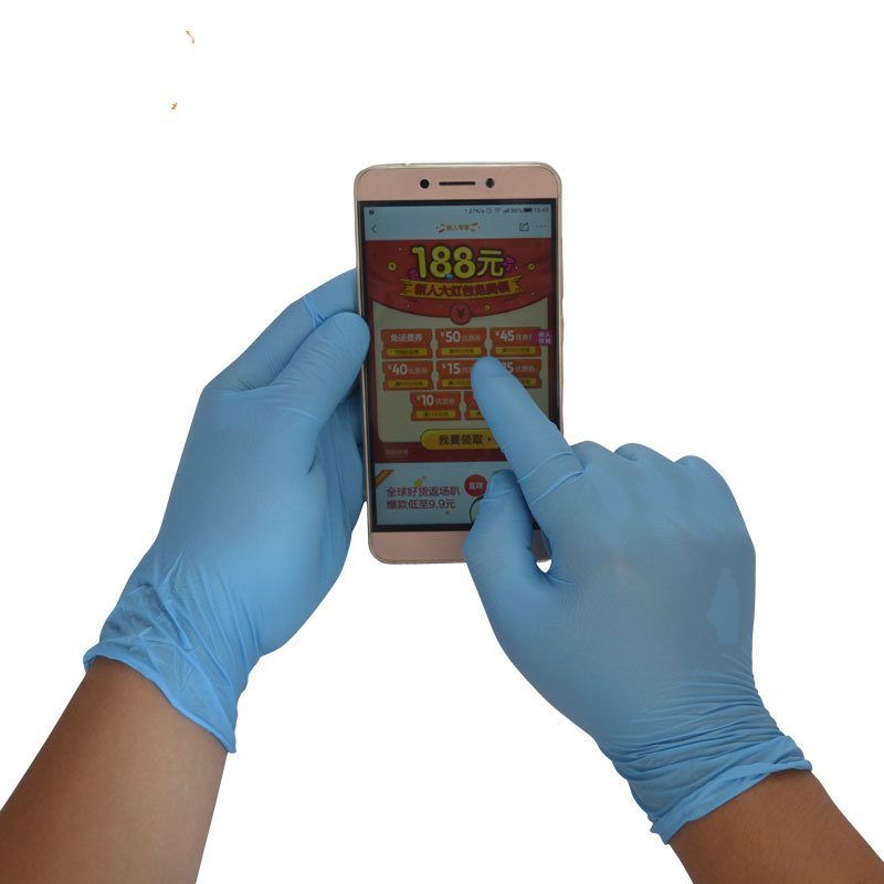 ФОТО Authentic anesthesia thick blue nitrile disposable nitrile gloves food latex rubber gloves antistatic