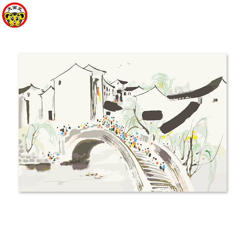 Painting By Numbers Art Paint By Number China Ink Bridge Oil Painting Landscape Paint Jiangnan Scenery