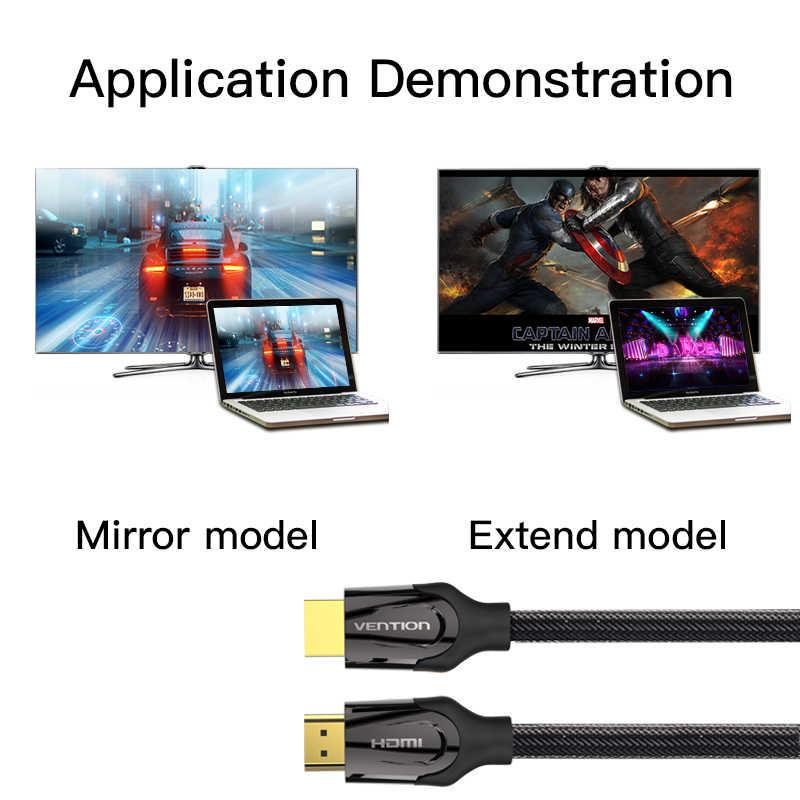 Vention кабель HDMI к HDMI кабель HDMI 2,0 1,4 4 k 3D 60FPS кабель для HD ТВ ЖК-дисплея ноутбука PS3 проектор фута, компьютерный кабель 1 м 2 м 3 м