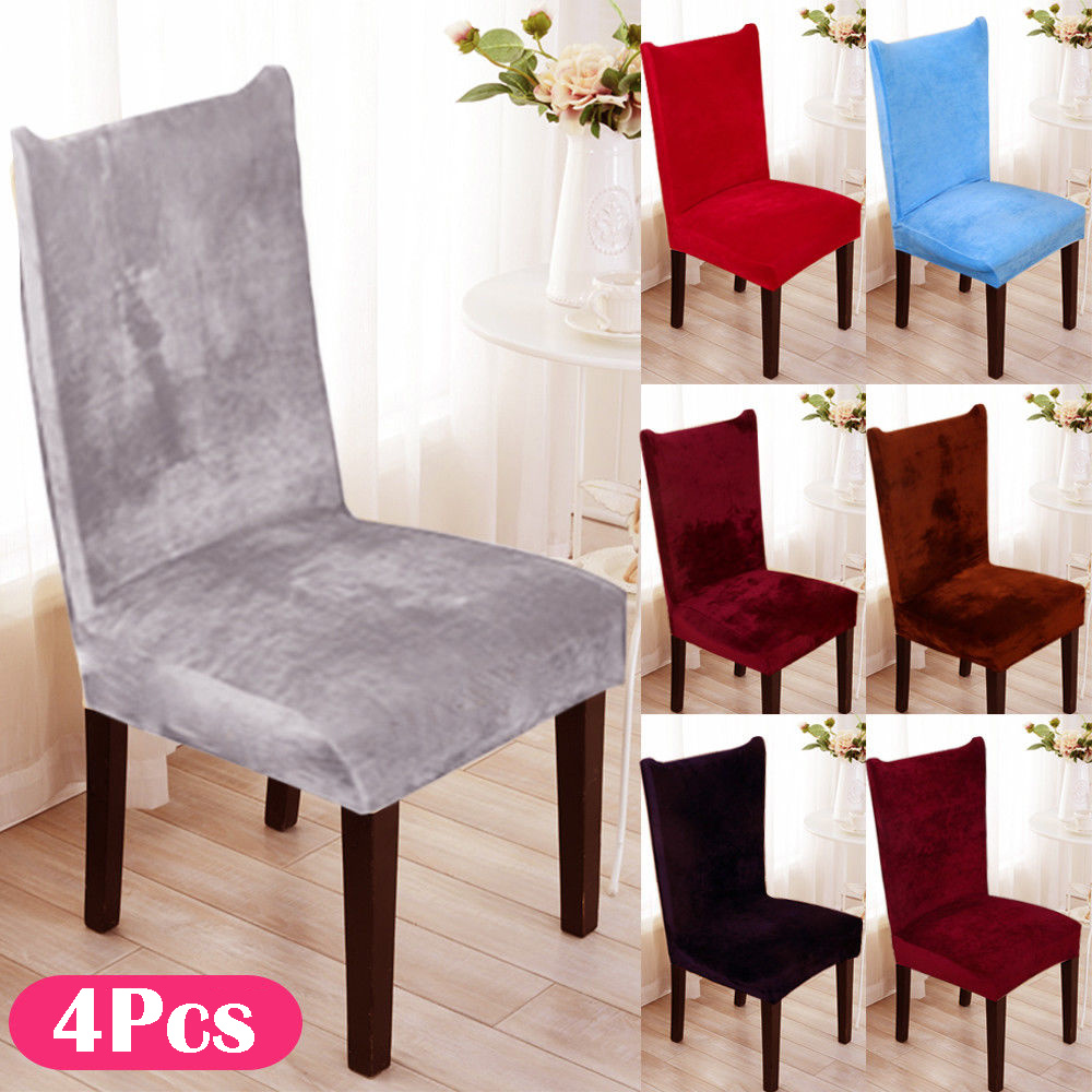 4Pcs/set Dining Chair Covers Removable Stretch Slipcovers Hotel Office Wedding Dining Fox Pile Fabric Seat Covers Chair Cover     - title=