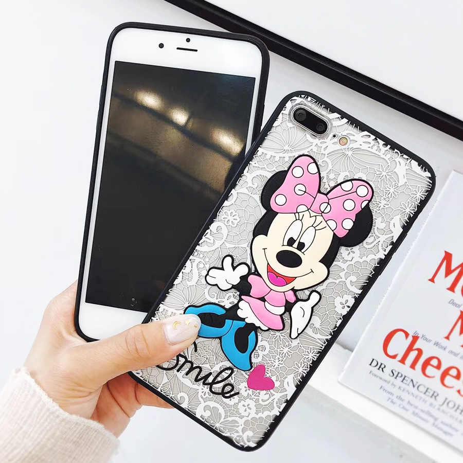 FKISSME luksusowe etui na Samsung Galaxy S8 S9 Plus S6 krawędzi S4 S5 S7 krawędzi koronki słodkie 3D Minnie Mickey Mouse pokrywy torby coque