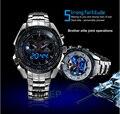 2017 Hight Calidad de Acero Inoxidable de Los Hombres Negros del Reloj Moda Azul del Binario LED Puntero Militar Deportes Reloj Para Hombre de 30AM A Prueba de agua