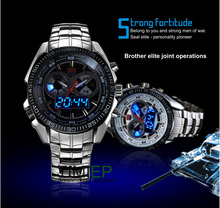 Tvg 2017 hight qualité en acier inoxydable hommes horloge de mode bleu binaire led pointeur militaire sport montre hommes 30am étanche