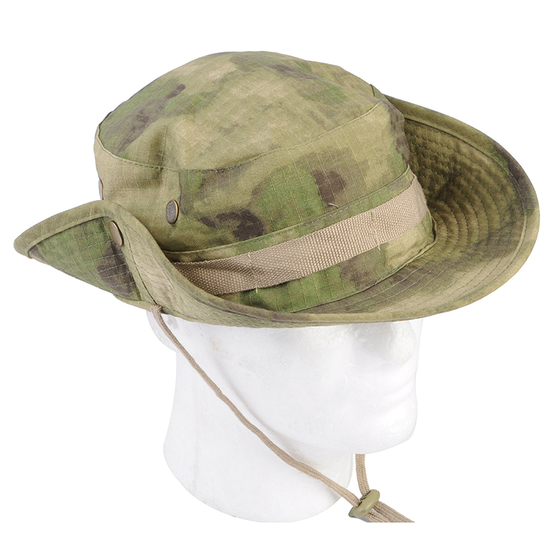e7d89111efbc0 Airsoft Tactical Bucket Hat Military Camo Bucket Cap Outdoor Sports Shade Wide  Brim Boonie Hat Camping Hiking Fishing Caps Mens-in Fishing Caps from Sports  ...