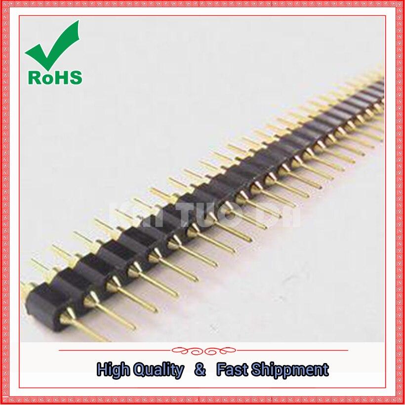 "10pcs Gold Round 40pin Male single row 0.1/"" 2.54mm pitch PCB Panel Pin Header"