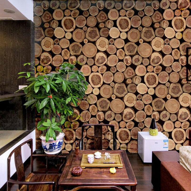 Super Thick 3D Wood Log Texture Embossed PVC Waterproof Wall Paper Roll Living Room Desktop Wallpaper Mural