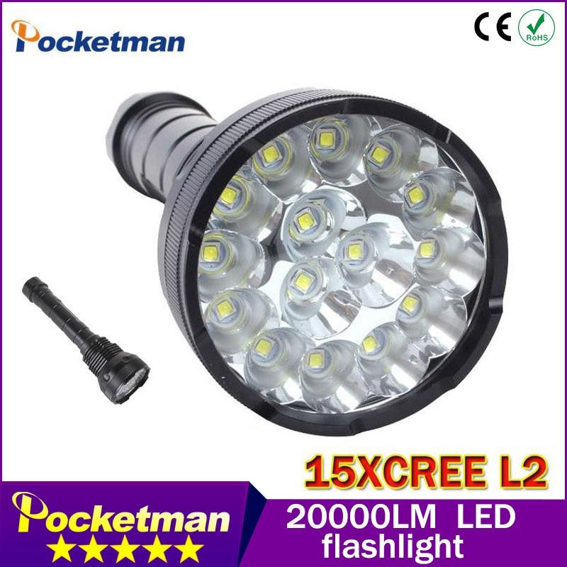 ФОТО Powerful LED Flashlight Lanterna led linternas Torch 15*CREE XM-L2 LED Waterproof Super Bright LED Flashlight 20000 Lumens