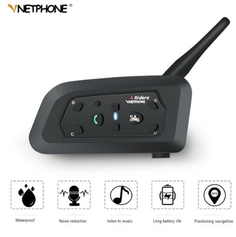 VNETPHONE Motorcycle Intercom Helmet Headset Motorcycle Rider Waterproof Wireless Bluetooth Intercom Moto Headset Interphone