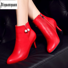 2017 Winter Solid Size to 44 45 46 47 48 High quality PU Sequined decoration Ankle Boots Zipper design Pointed Toe shoes