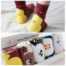 Cute Animal 2018 Spring Funny Socks Cotton Korean Fashion Socken Duck Bear Rabbit Penguin Panda Women' Socks(China)