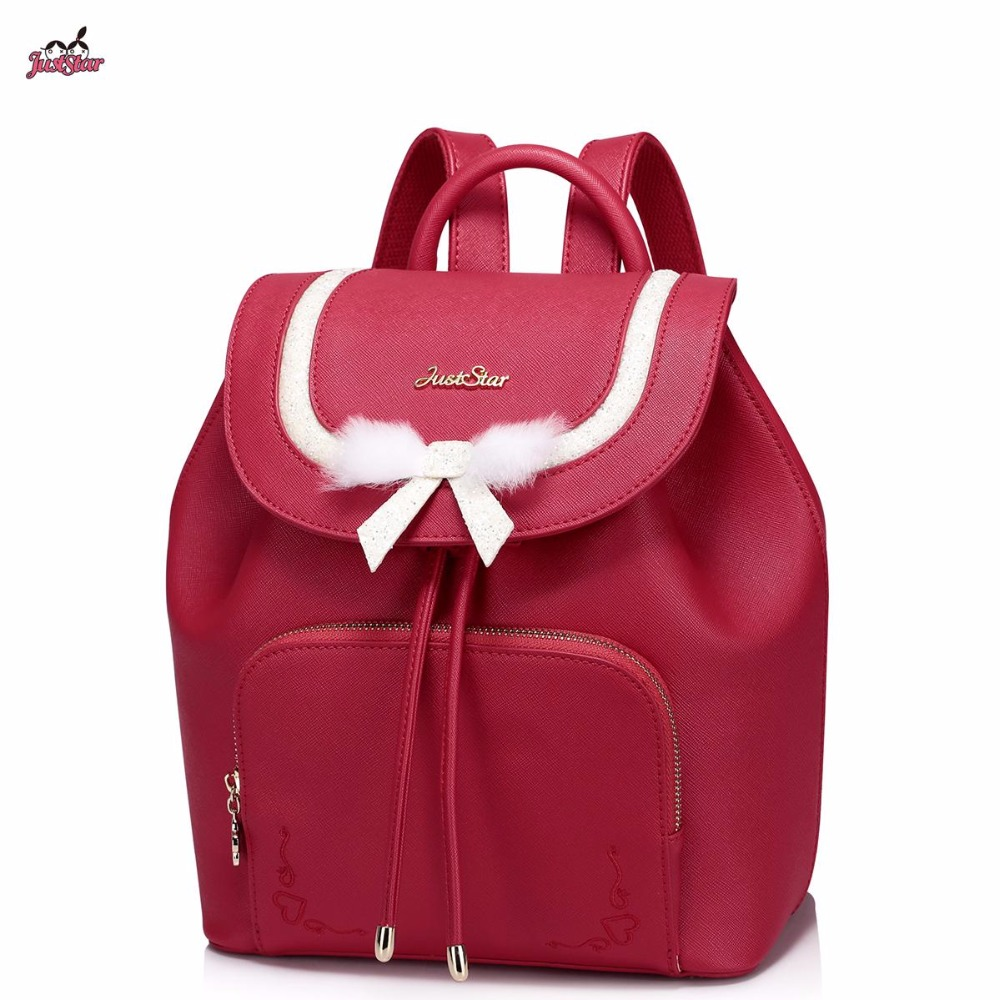 ФОТО Just Star Brand Design Bow PU Women Leather Girls Ladies Backpack School Travel Shoulders Drawstring Bucket Bags