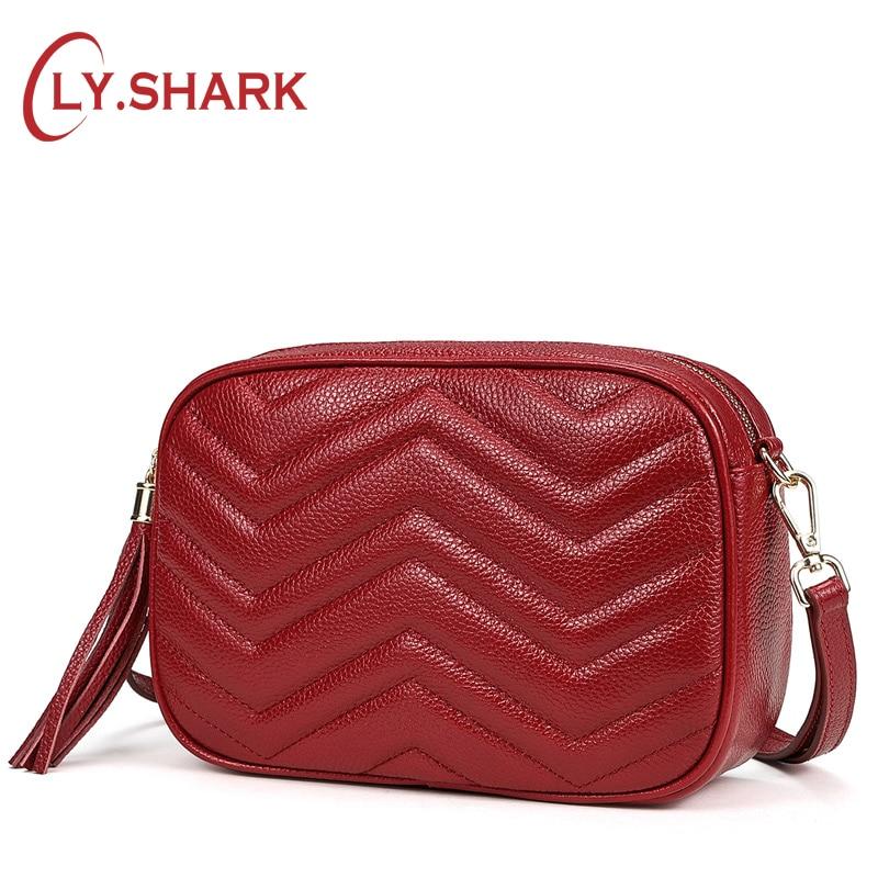 LY SHARK Women Messenger Bag Crossbody Bag For Women 2019 Female Genuine Leather Women Shoulder Bag