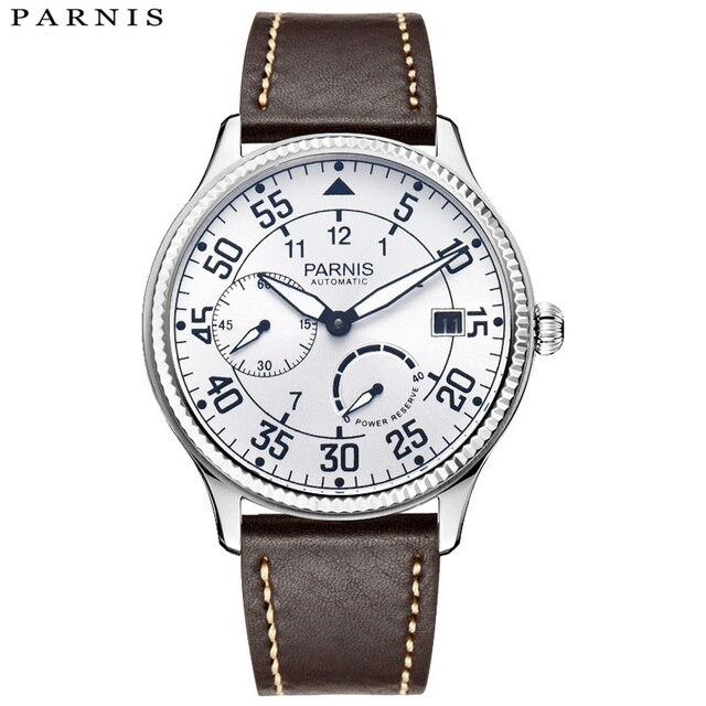 a39a26e43da 2018 Anunciou Marcas Homem Relógio Parnis Power Reserve Relógios Mecânicos  de Couro Piloto À Prova D