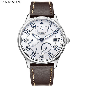 2018 annoncé Parnis marques montre homme réserve de marche montres mécaniques en cuir étanche pilote montre pour hommes relojes Hombre