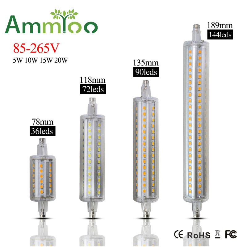 R7s led bulb lamp ac 85 265 dimmable 5w 10w 15w 20w led r7s plug corn lamp 78mm 118mm 135mm 189 for R7s led 118mm 20w