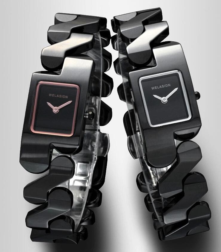 Prix pour Cool Filles Conception Spéciale Bracelet Montres Marque Mode Plein En Céramique Carré Montre-Bracelet À Quartz Femmes Robe Horloge Montres NW9001