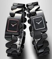Cool Girls Special Design Bracelet Watches Brand Fashion Full Ceramic Square Wristwatch Quartz Women Dress Clock