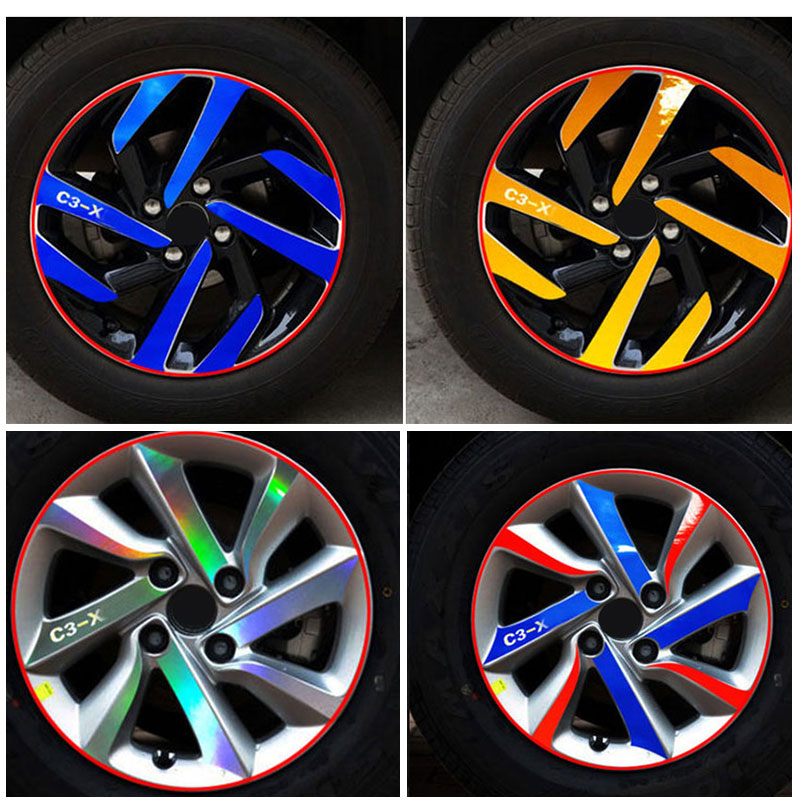 A set/4pcs Car Styling Refit Wheel Sticker Reflective Rim car Accessories for Citroen C3-XR  ,C3-xr Car Hub Stickers(YONGXUN ) модель машины citroen c3 xr c3 xr 1 18