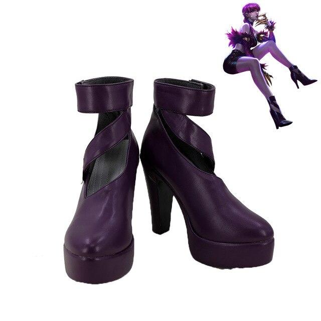 LOL Cosplay K/DA Cilt Agony erkek Embrace Evelynn Ayakkabı KDA Evelynn Cosplay Çizmeler Siyah Yüksek Topuk Çizmeler Yetişkin özel Yapılmış