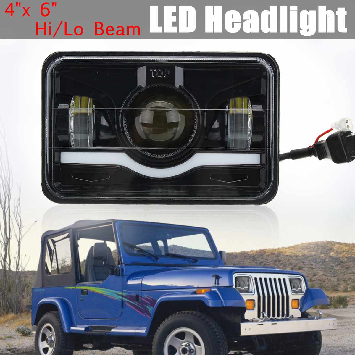 4 X 6 LED Headlight Red & White DRL Hi/Lo Beam Truck Replacement Lamp For Jeep night lord 2pcscar led light h4 headlight head lamp dipped beam low beam or high beam hi lo 6000k white for fit 2011 2015 year