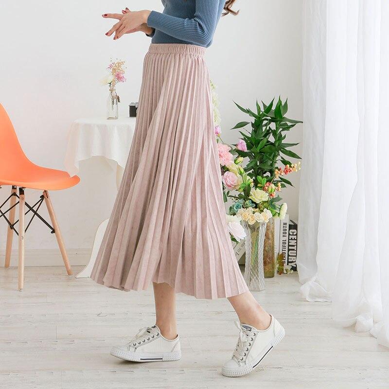 New Fashion Autumn Winter Women Suede Skirt Pink Green Long Pleated Skirts Vintage Womens Saias Midi Faldas Women Midi Skirt