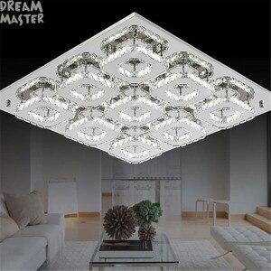 Image 5 - Роскошная большая современная светодиодная потолочная люстра, светильник К9, хрустальные квадратные светодиодные люстры, художественное освещение, блеск, освещение для гостиной