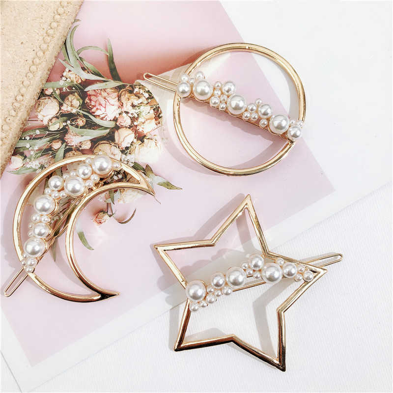 Elegant Hair Clips for Women Star Moon Hairpin Gold Color Round Circle Barrettes Hairgrips Simulated Pearl Clip Hair Accessories