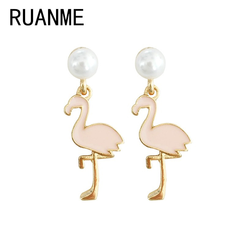 Cartoon animal temperament contracted pink flamingo earring accessories wholesale pearl earring girl