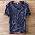 España estilo de diseño único con cuello en v manga corta de algodón t shirt men marca clothing camiseta ocasional de los hombres t-shirt de moda de verano camisa