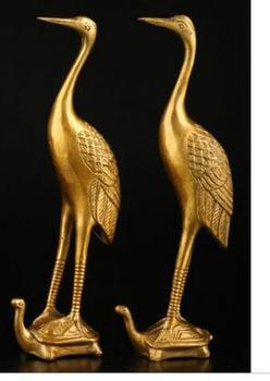 Copper Brass craft collecting OLD copper Elaborate Old crafts Brass A only Exquisite Chinese Classical Golden Crane Bird Standin