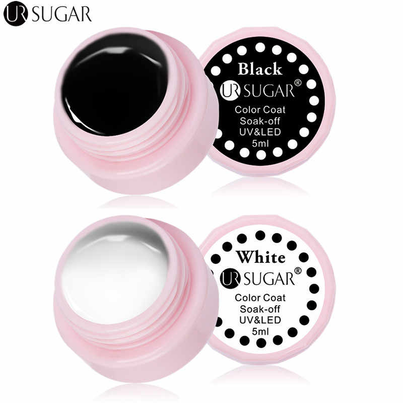 UR ZUCCHERO 5 ml Soak Off Gel UV Smalto Bianco Nero di Lunga Durata LED UV Del Chiodo Del Gel di Arte Vernice Cappotto Vernice UV Del Gel di Colore Smalto