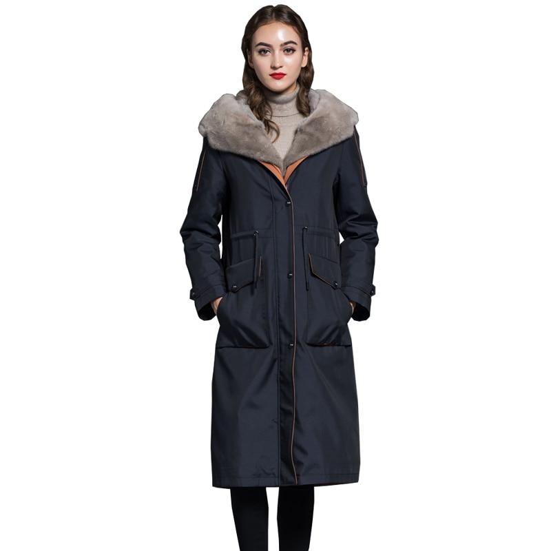 Real Mink Fur Collar Hooded Coat Rex Rabbit Fur Liner Coats Korean Winter Down Jacket Women Long Parka Chaqueta Mujer ZL741