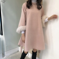 [GUTU] Autumn Winter 2017 Fashion New Pattern Solid Color Long Sleeve Stand Collar Keep Warm Pullover Dress Women M40111