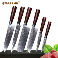 YAREH professional chef knife set 6 PCS japanese damascus steel kitchen knife sets good sharp Uility Cleaver Paring knife sets