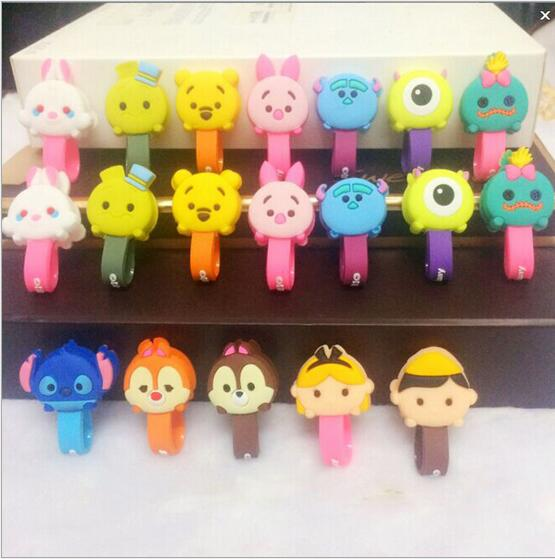 New Cartoon Snap Cable Winder With Buckle Earphone Cable Wire Organizer USB Charging Cord Clip 206