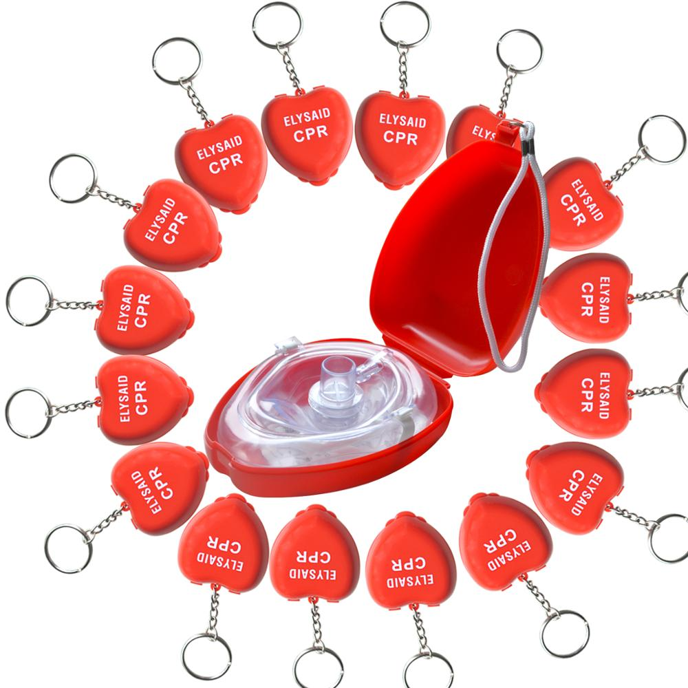 CPR Rescue Pocket Mask Face Shiled Resuscitator In Hard Case First Aid Box With 16Pcs Mini Heart Shape CPR Resuscitator Mask
