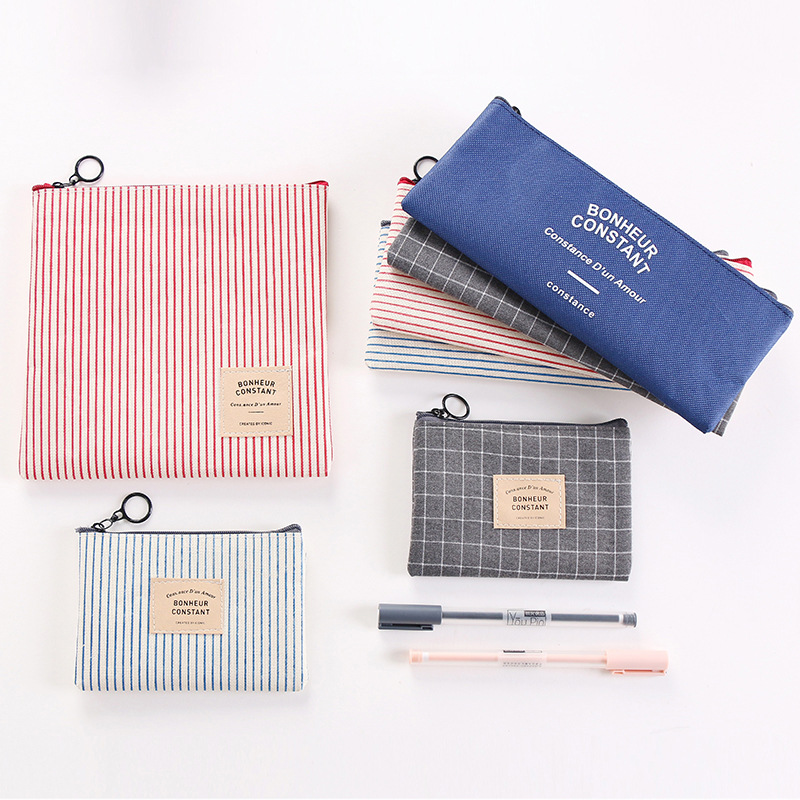 Simple striped checkered bag girls boys student large capacity canvas pencil storage makeup Cosmetic bags цена 2017