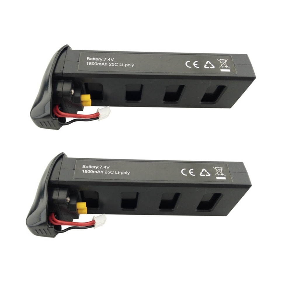 2PCS 7.4V 1800mAh lithium battery for MJX B2C B2W B2 Bugs 2w Bugs 2 RC quadcopter spare parts drone battery black 2pcs 7 4v 1800mah model battery with 2 in 1 euro charger for mjx b3 bugs 3 four axis aircraft spare parts uav lithium battery
